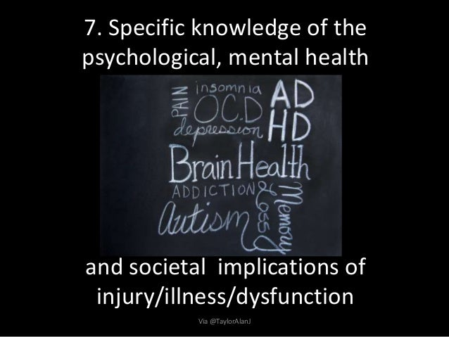 7. Specific knowledge of the psychological, mental health and societal implications of injury/illness/dysfunction Via @Tay...
