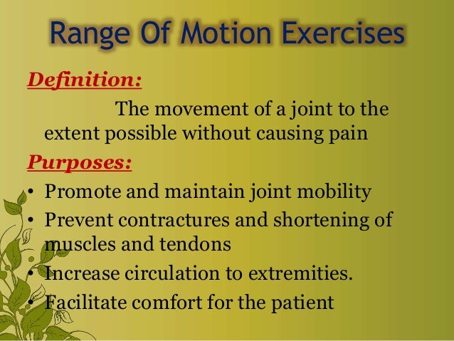 Exercise & range of motion exercise