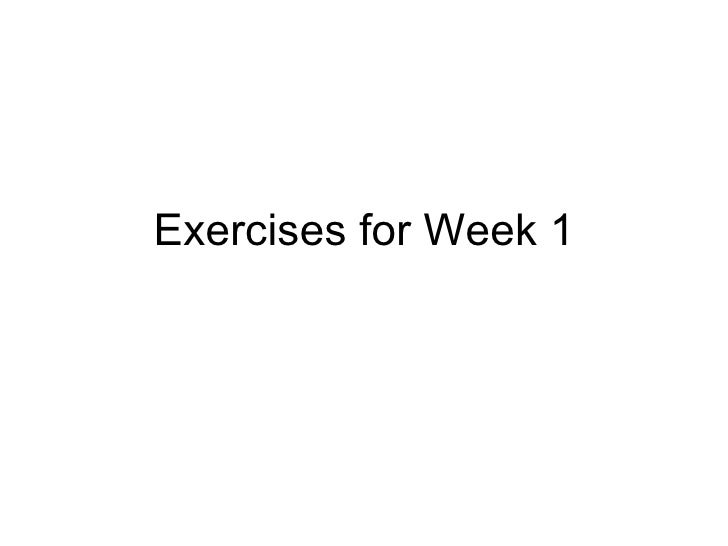 Exercises for Week 1