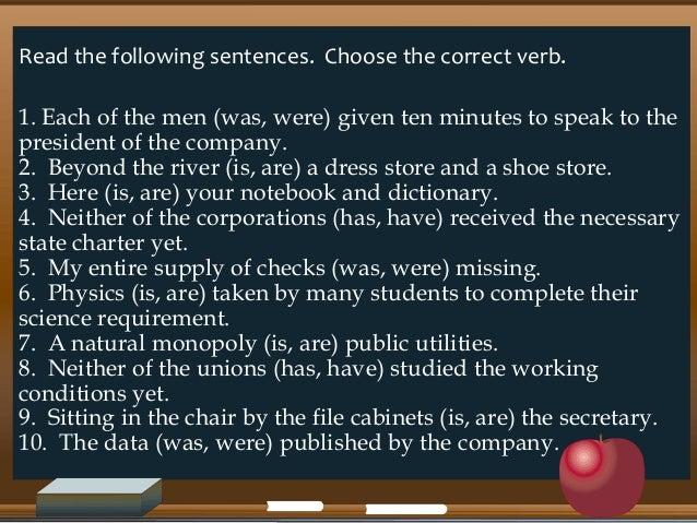 Exercises on subject verb agreement exercises on subject verb agreement 2 read the following sentences platinumwayz