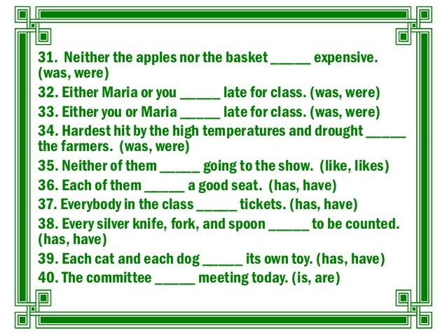 Exercises on Subject-Verb Agreement