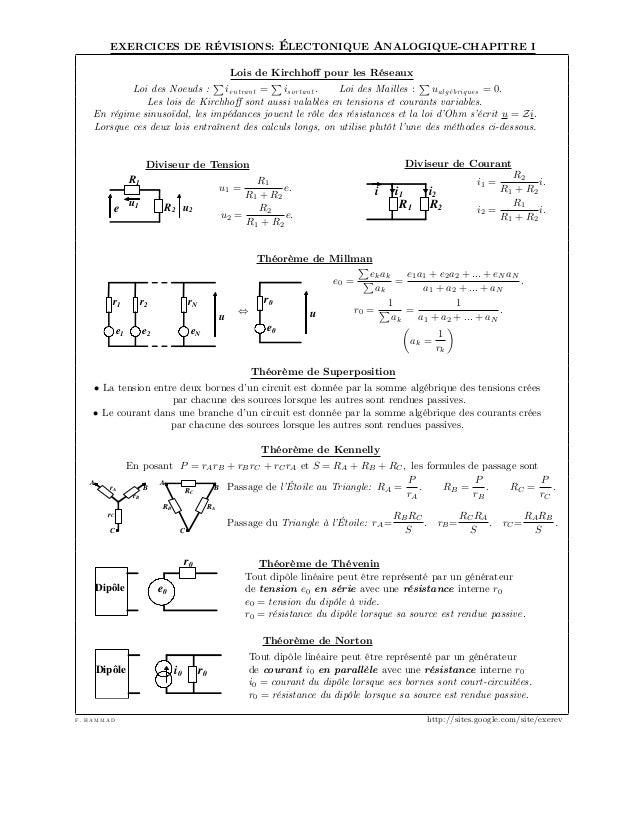 electronique generale cours et exercices pdf