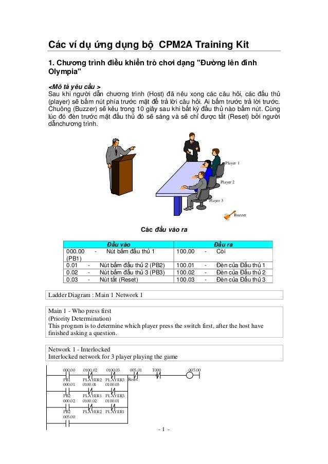 """- 1 - Các ví d ng d ng b CPM2A Training Kit 1. Chương trình i u khi n trò chơi d ng """" ư ng lên nh Olympia"""" <Mô t yêu c u >..."""