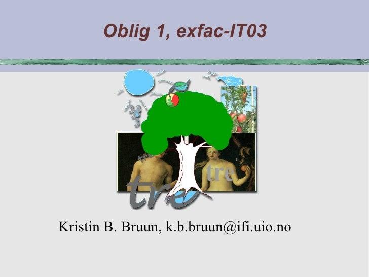 Oblig 1, exfac-IT03 <ul><ul><li>Kristin B. Bruun, k.b.bruun@ifi.uio.no </li></ul></ul>