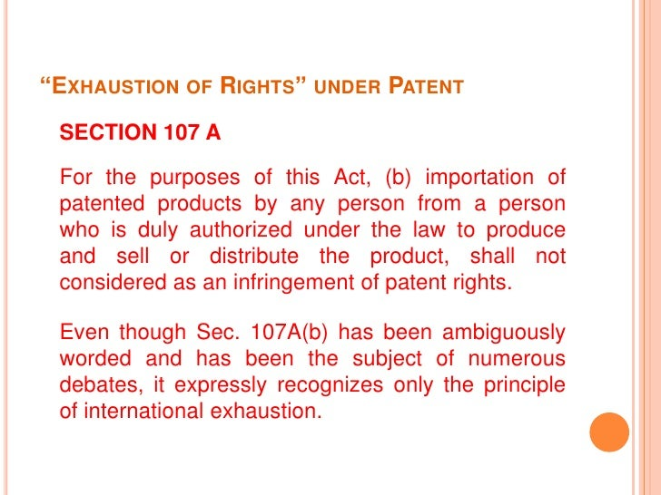 Exhaustion Of Intellectual Property Rights Example