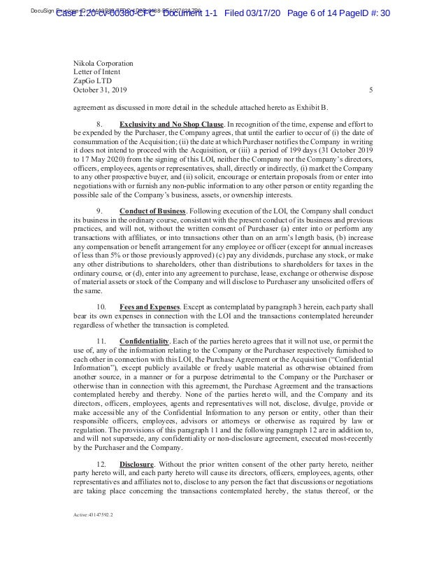 DocuSign Envelope ID: 144A9B82-7FDC-4D2B-8488-BE402762A7B6 Case 1:20-cv-00380-CFC Document 1-1 Filed 03/17/20 Page 6 of 14...
