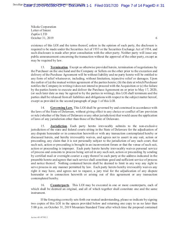DocuSign Envelope ID: 144A9B82-7FDC-4D2B-8488-BE402762A7B6 Case 1:20-cv-00380-CFC Document 1-1 Filed 03/17/20 Page 7 of 14...