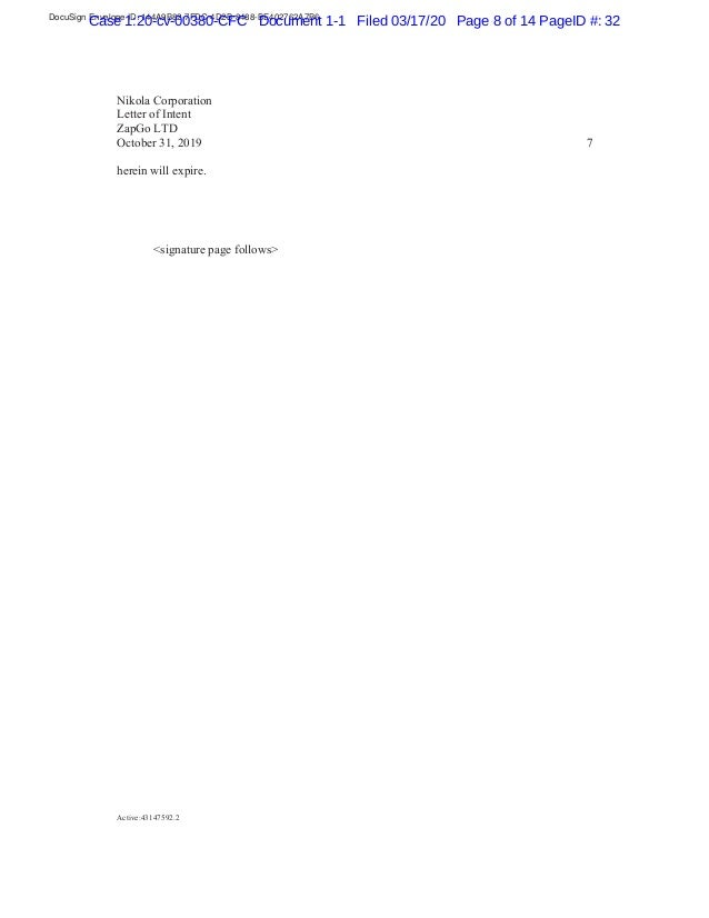 DocuSign Envelope ID: 144A9B82-7FDC-4D2B-8488-BE402762A7B6 Case 1:20-cv-00380-CFC Document 1-1 Filed 03/17/20 Page 8 of 14...