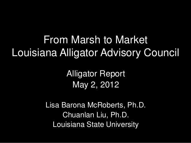 From Marsh to MarketLouisiana Alligator Advisory Council            Alligator Report             May 2, 2012       Lisa Ba...