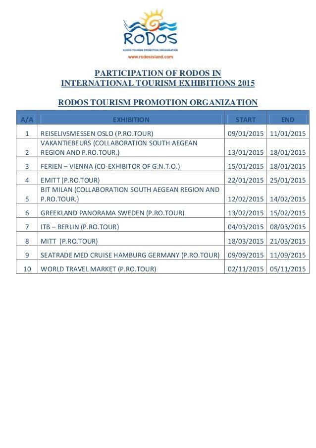 PARTICIPATION OF RODOS IN INTERNATIONAL TOURISM EXHIBITIONS 2015 RODOS TOURISM PROMOTION ORGANIZATION Α/Α EXHIBITION START...