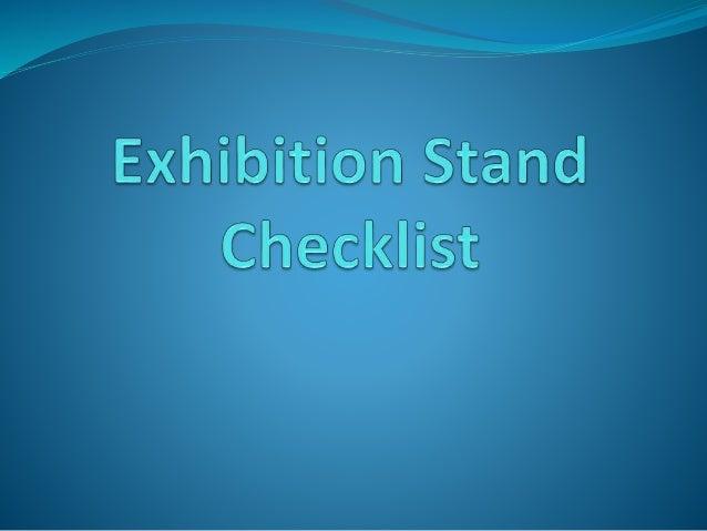 Checklist For Exhibition Booth : Exhibition stand checklist