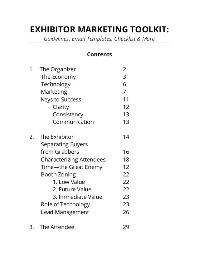 2014 Exhibitor Marketing Toolkit Includes Guidelines Email Template – Attendee List Template