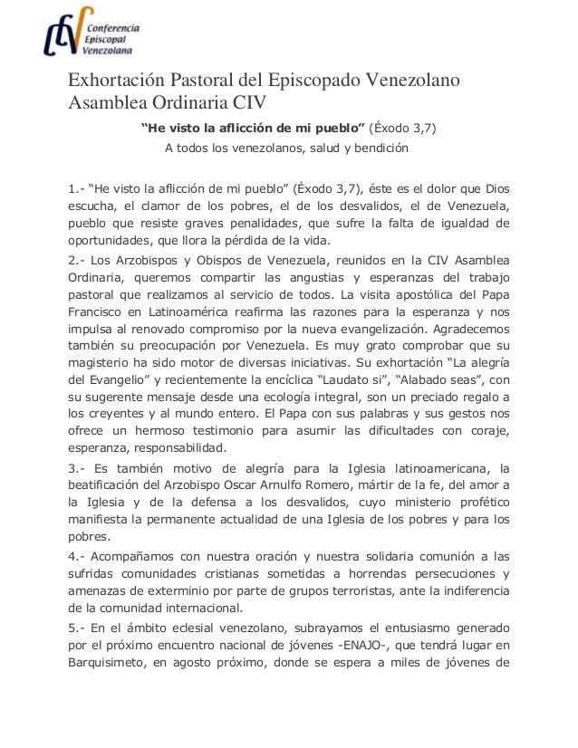 """Exhortación Pastoral del Episcopado Venezolano Asamblea Ordinaria CIV """"He visto la aflicción de mi pueblo"""" (Éxodo 3,7) A t..."""