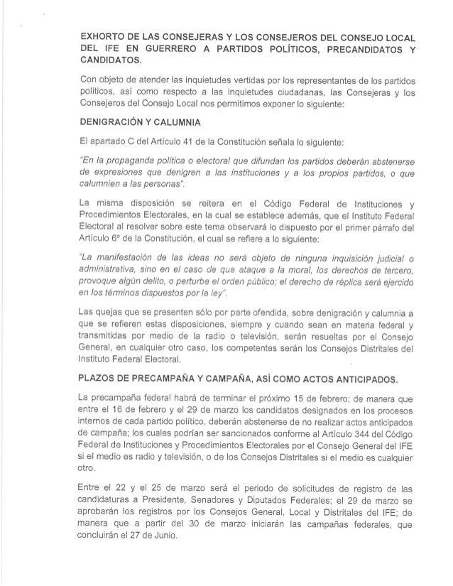 Exhorto IFE - Guerrero Junta Local