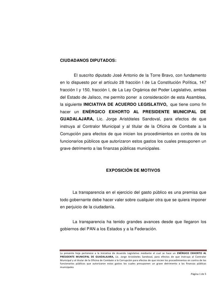 CIUDADANOS DIPUTADOS:           El suscrito diputado José Antonio de la Torre Bravo, con fundamentoen lo dispuesto por el ...