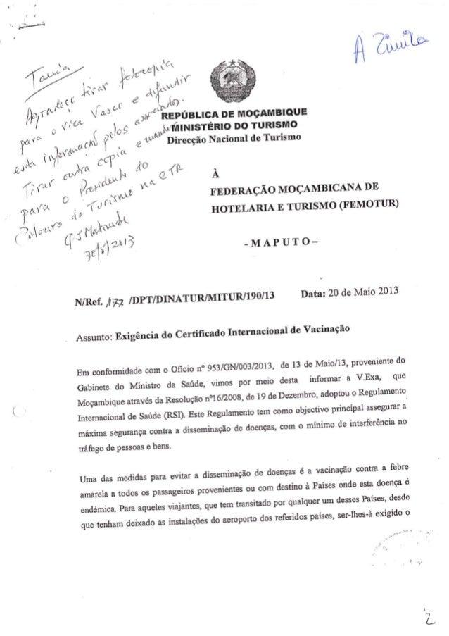Exigências do certificado de vacinacao e lista dos países