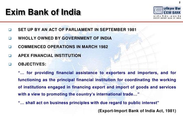 exim bank schemes