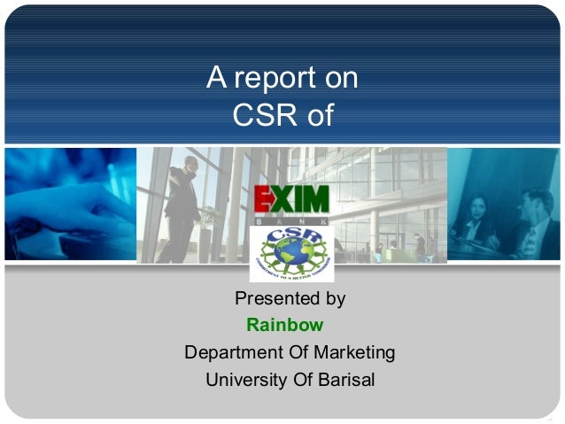 report on corporate social responsibility and