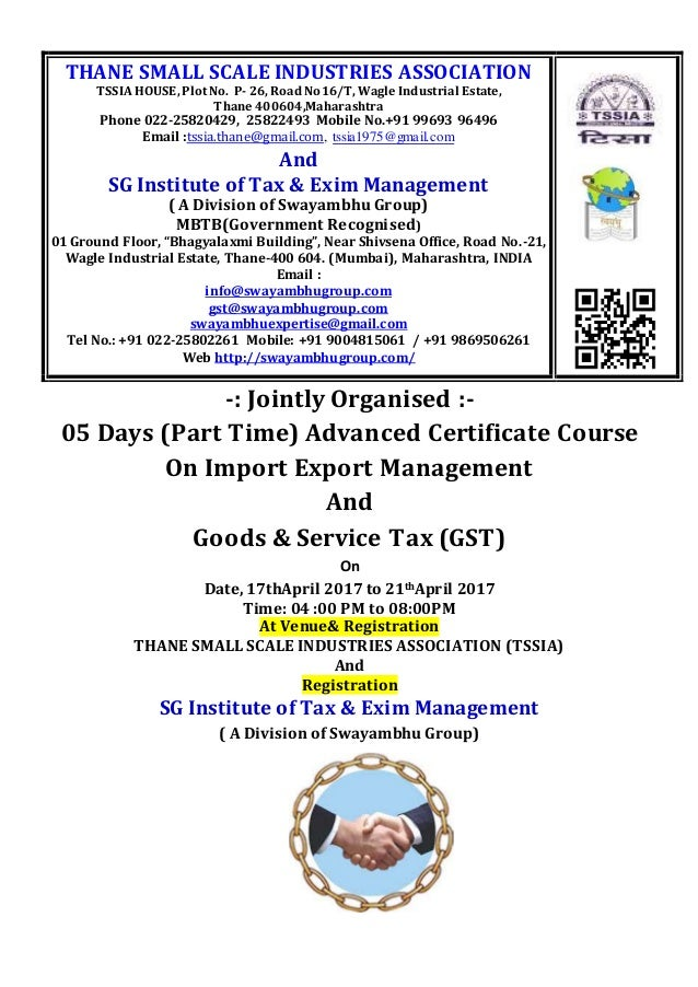 05 Days Part Time Advanced Certificate Course On Import Export Mana