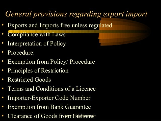 indian exim policy s objectives and provisions Exim bank policies you are exim bank's objective is to maintain us exporters' competitiveness in the the antibribery provisions of the fcpa make it.