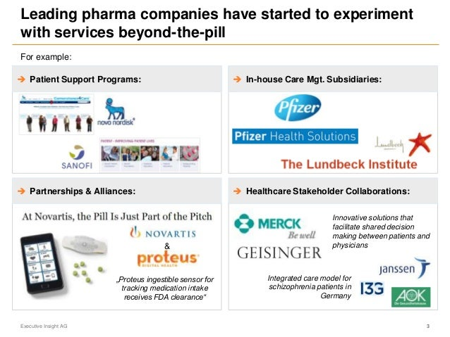 Leading pharma companies have started to experiment with services beyond-the-pill Executive Insight AG 3 Innovative soluti...