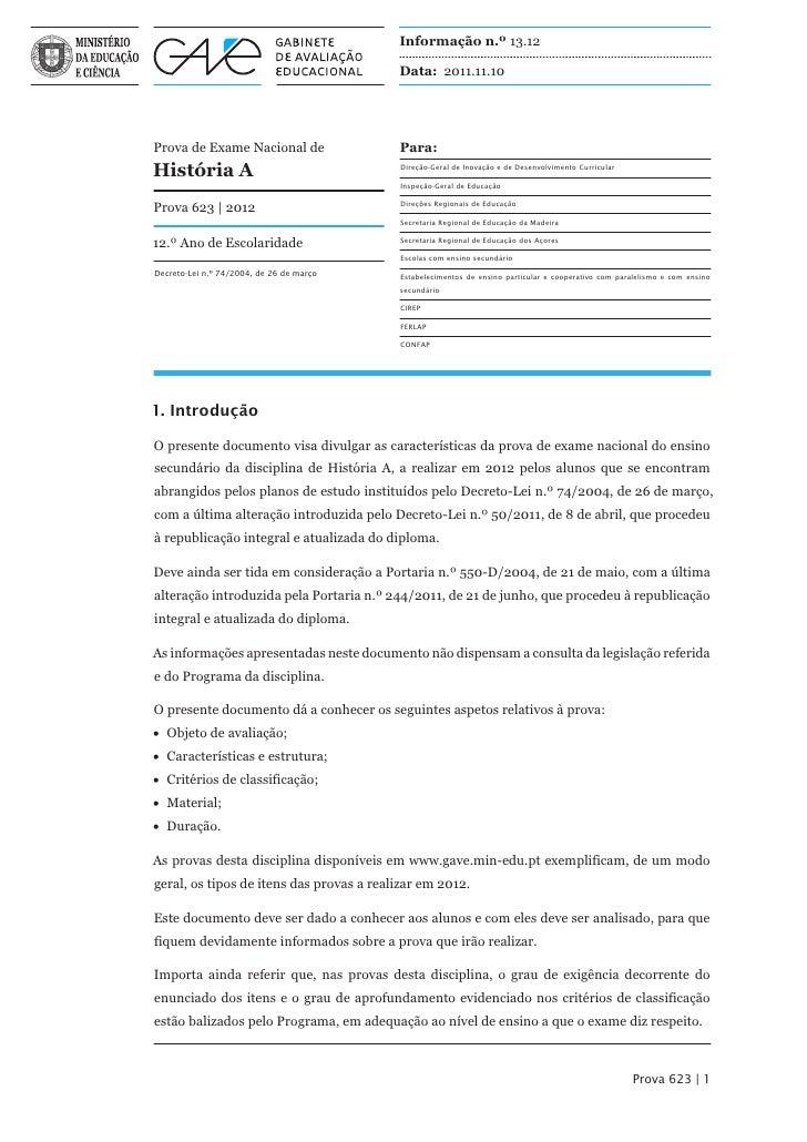 Informação n.º 13.12                                          Data: 2011.11.10Prova de Exame Nacional de                Pa...