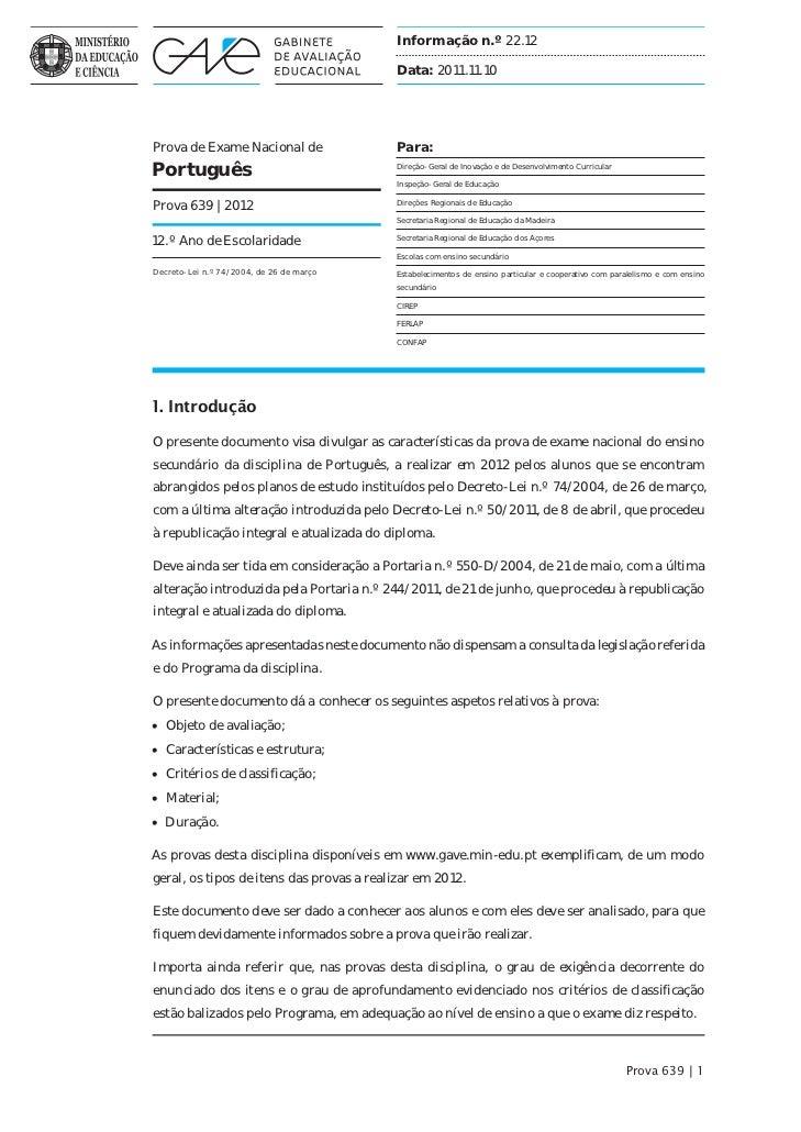 Informação n.º 22.12                                          Data: 2011.11.10Prova de Exame Nacional de                Pa...
