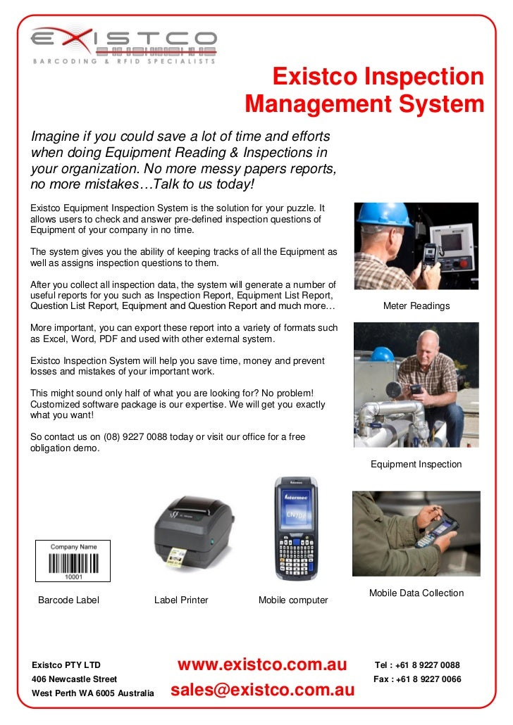 Existco Inspection                                                     Management SystemImagine if you could save a lot of...