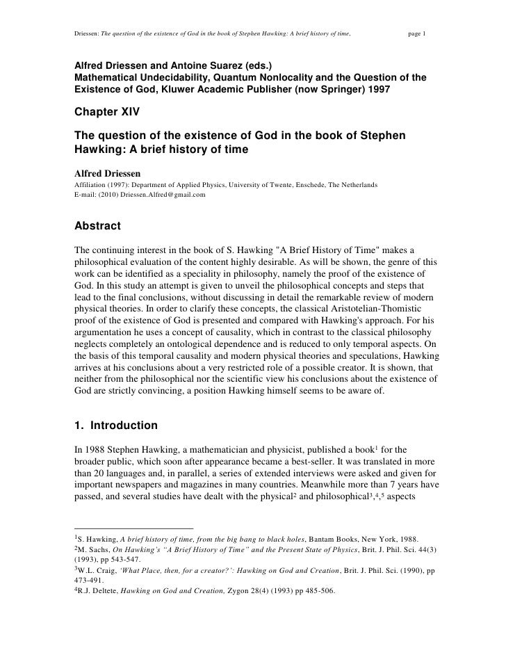 Driessen: The question of the existence of God in the book of Stephen Hawking: A brief history of time,   page 1    Alfred...