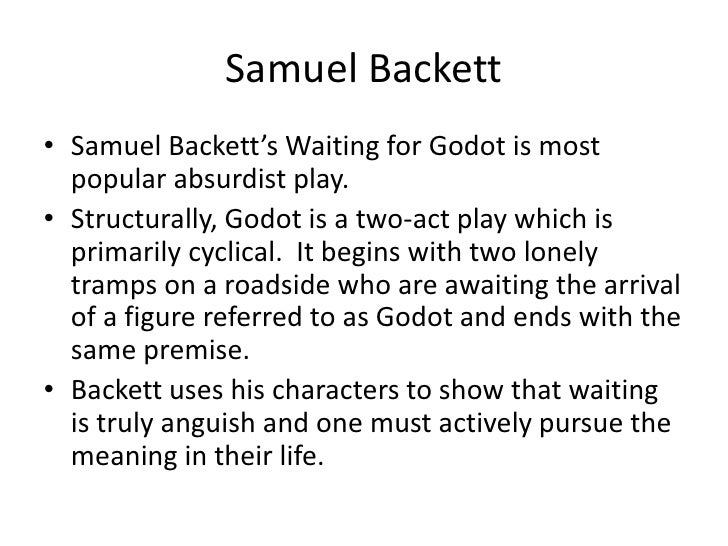 waiting for godot as an existentialist Academic journal article philosophy today unbearable godot: how an existentialist can make meaning and find happiness in repetition.