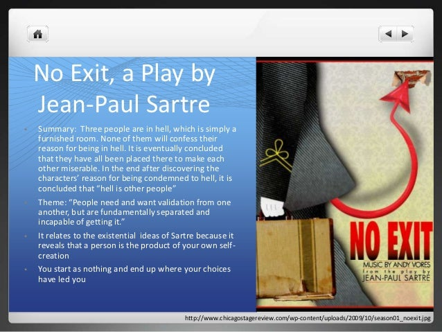 the existentialist themes in jean pauls no exit Struggling with themes such as philosophical viewpoints: existentialism in jean- paul sartre's no exit we've got the quick and easy lowdown on it.