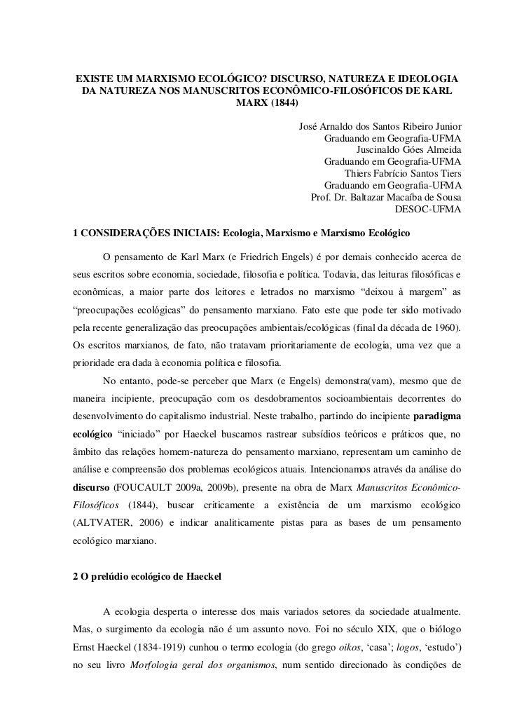 EXISTE UM MARXISMO ECOLÓGICO? DISCURSO, NATUREZA E IDEOLOGIA DA NATUREZA NOS MANUSCRITOS ECONÔMICO-FILOSÓFICOS DE KARL    ...