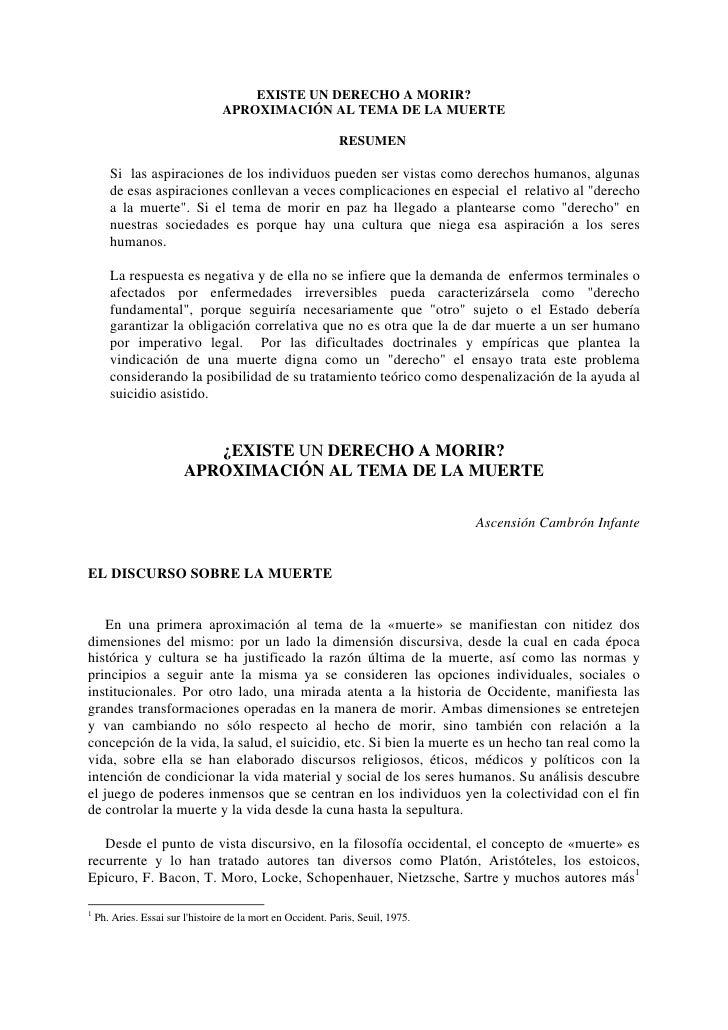EXISTE UN DERECHO A MORIR?                                   APROXIMACIÓN AL TEMA DE LA MUERTE                            ...