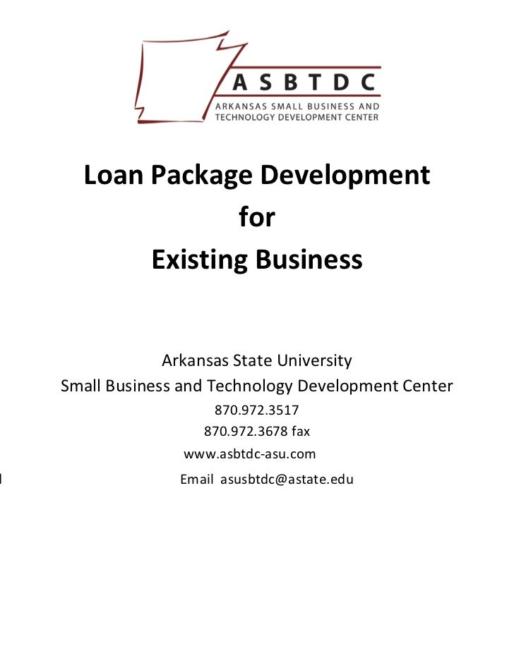 Loan Package Development                    for             Existing Business        ...