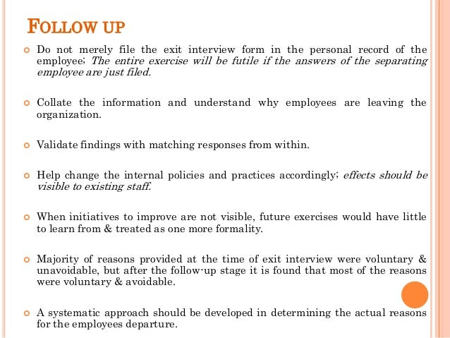 12. FOLLOW UP  Do Not Merely File The Exit Interview Form ...