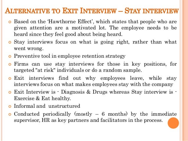14 ALTERNATIVE TO EXIT INTERVIEW STAY