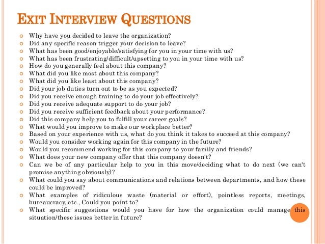 Exit Interview Questions and Answers