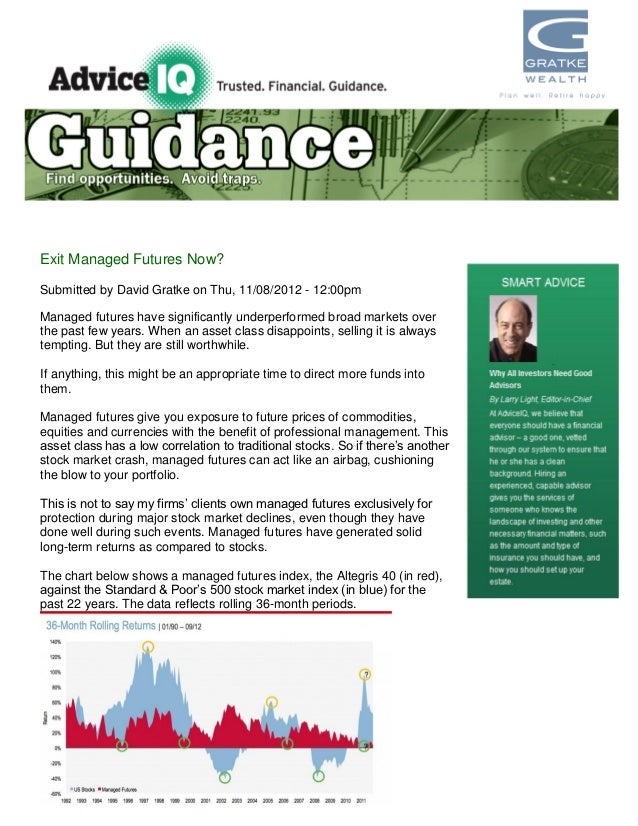 Exit Managed Futures Now?Submitted by David Gratke on Thu, 11/08/2012 - 12:00pmManaged futures have significantly underper...