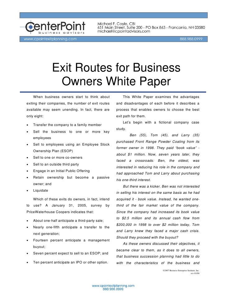 Exit Routes for Business                     Owners White Paper      When business owners start to think about            ...