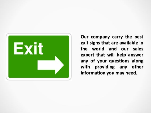 3. Our Company Carry The Best Exit Signs ...
