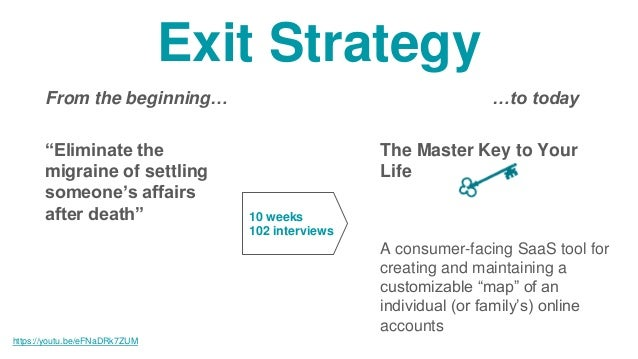 Exit Strategy …to today The Master Key to Your Life A consumer-facing SaaS tool for creating and maintaining a customizabl...