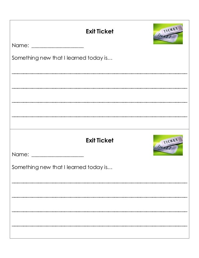 Exit TicketTemplate