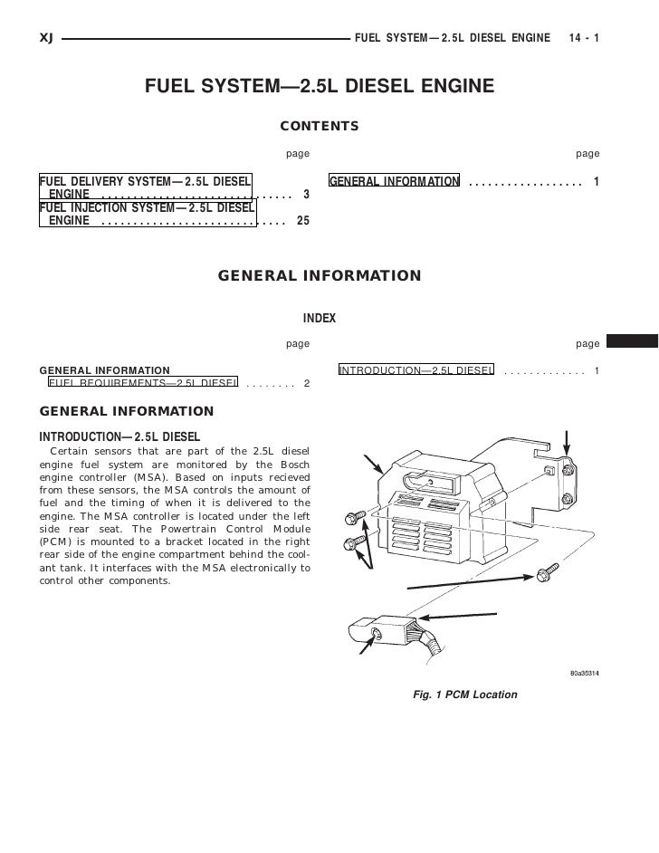 XJ                                                                            FUEL SYSTEM—2.5L DIESEL ENGINE              ...