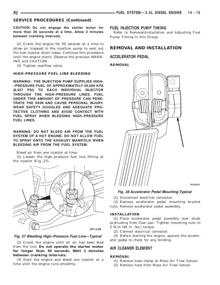 xj fuel system—2 5l diesel engine 14 - 15service procedures  (continued)caution: do not engage the starter motor for fuel injection pump  timingmore than 30