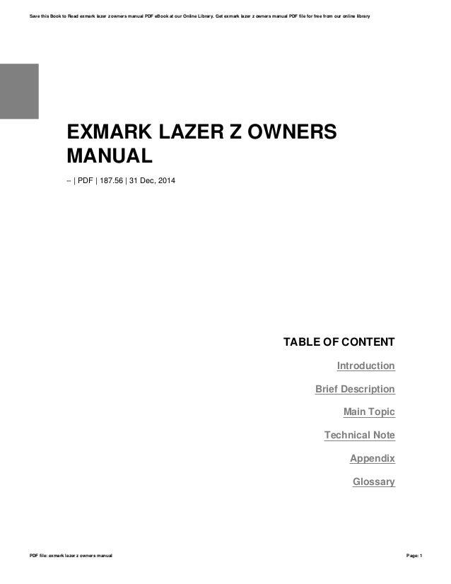 Exmark lazer z owners manual