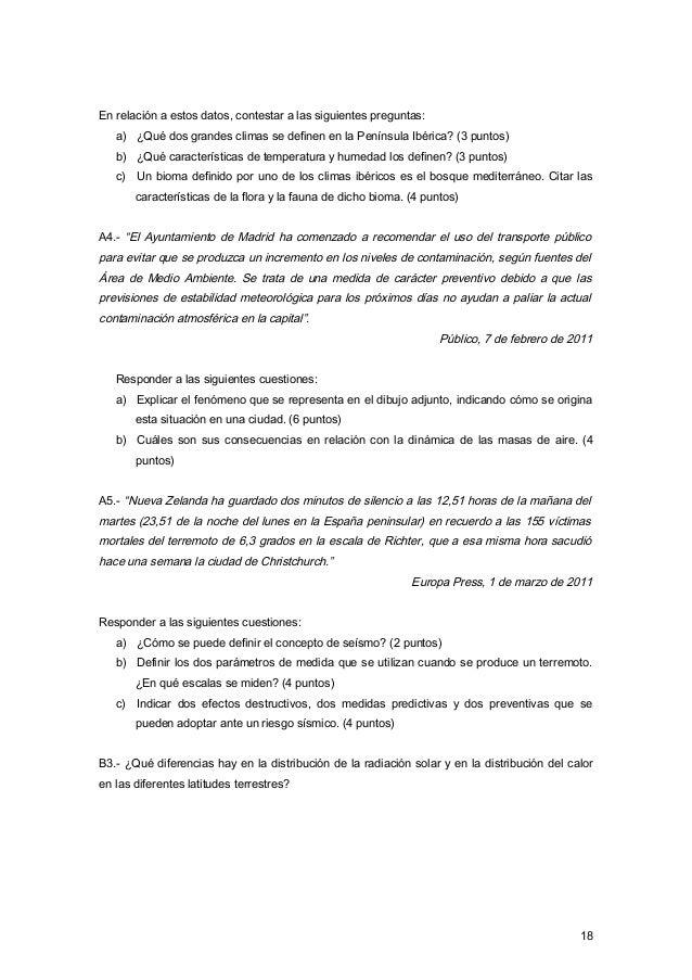 En relación a estos datos, contestar a las siguientes preguntas: a) ¿Qué dos grandes climas se definen en la Península Ibé...