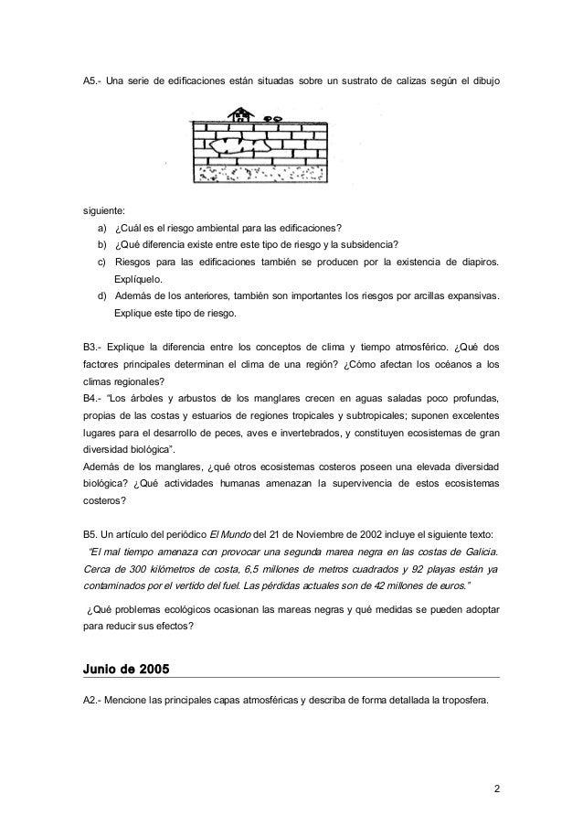 A5.- Una serie de edificaciones están situadas sobre un sustrato de calizas según el dibujo siguiente: a) ¿Cuál es el ries...