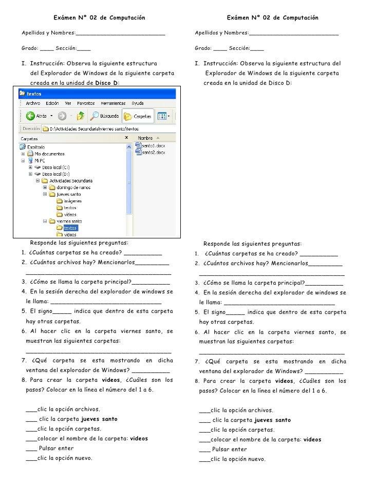 Exámen Nº 02 de Computación<br />Apellidos y Nombres:__________________________<br />Grado: ____ Sección:____<br />Instruc...