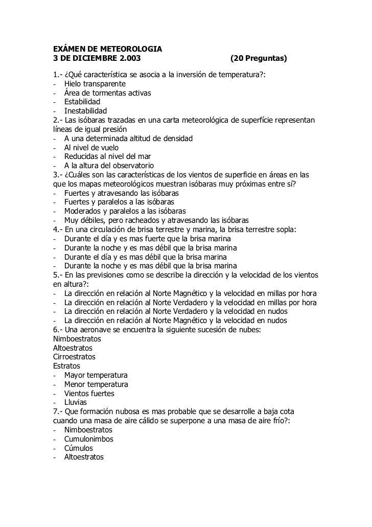 EXÁMEN DE METEOROLOGIA3 DE DICIEMBRE 2.003                                  (20 Preguntas)1.- ¿Qué característica se asoci...