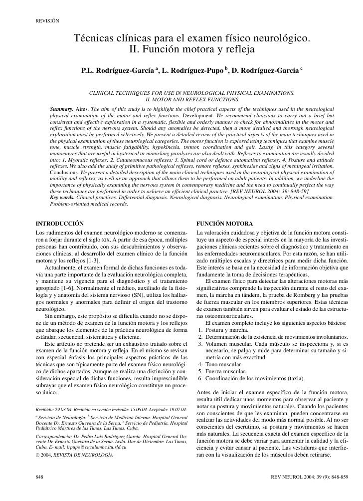 REVISIÓN                   Técnicas clínicas para el examen físico neurológico.                               II. Función ...